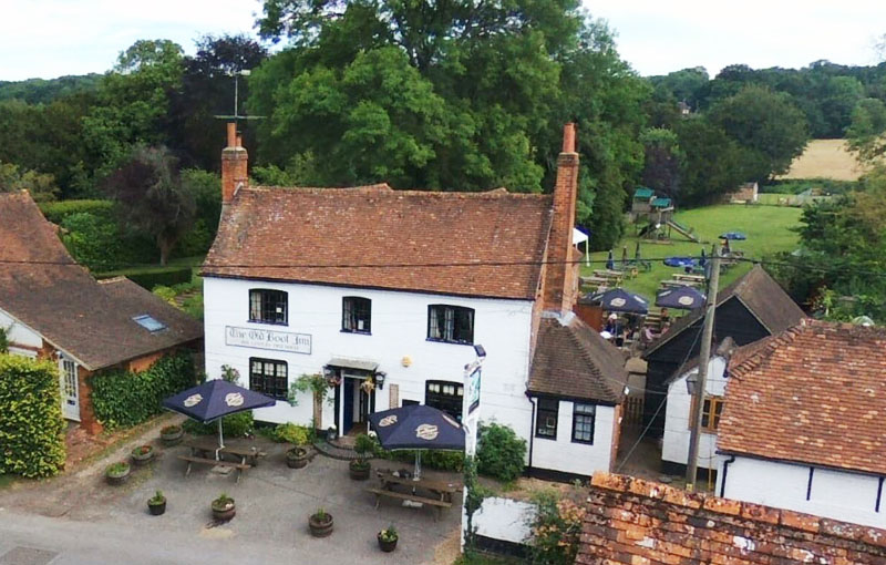 Aerial view of The Old Boot Inn, Stanford Dingley