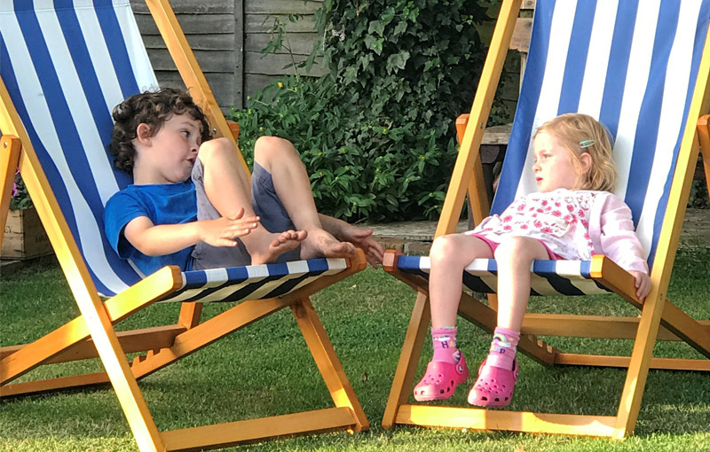 Chillour deckchairs in the garden