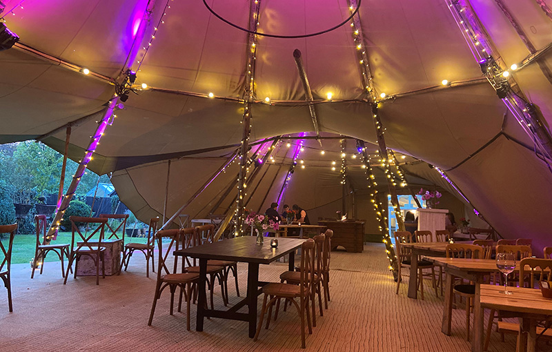 Covid safe outdoor dining in teepee tents